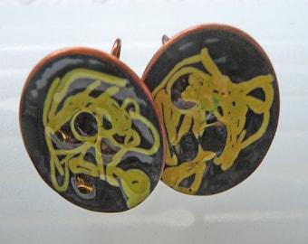 Vintage Copper Enamel Screw-Back Earrings  --  Art Deco , Jewelry , Craft -- Gift Idea