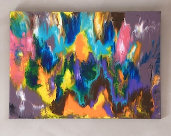 "Acrylic abstract painting - contemporary abstract painting - Modern Art - ""Flames"" - acrylic painting on canvas 50 X 70."
