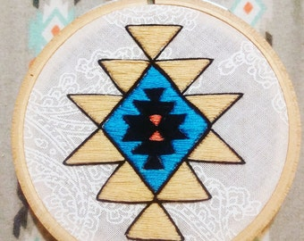 Native American Pattern Embroidery Hoop Art