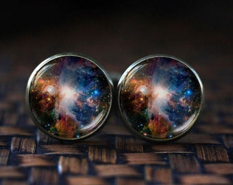 Orion nebula cufflinks, Space cufflinks, Nebula cufflinks, Galaxy cufflinks, Universe Jewelry, Orion cufflinks
