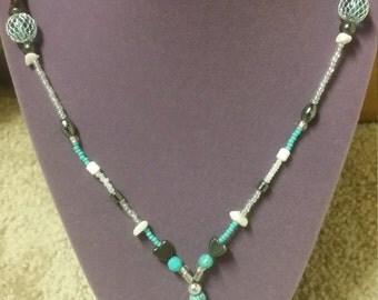 Simple bead n tassel necklace