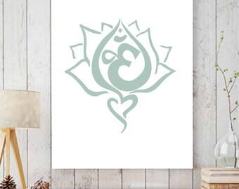 Om Print, Lotus Flower Print, Yoga Inspired 5x7 or 8x10 Print, Yoga Wall Art