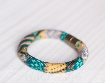 Bead crochet bracelet - Crochet rope - Crochet bangle - Geometric design - Colorful bracelet - Turquoise bracelet- Gift for her - Trendy