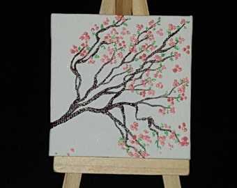 3x3 painting of cherry blossom