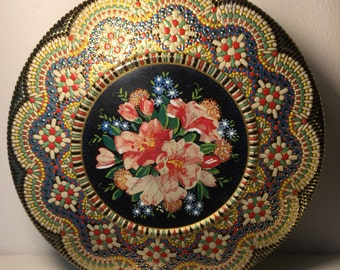 Beautiful bright and colorful floral and mosaic style tin
