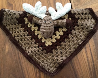 Crochet Moose Lovey, security blanket, baby toy, baby shower gift