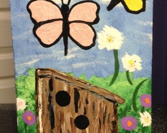 Spring butterflies and birdhouse painting