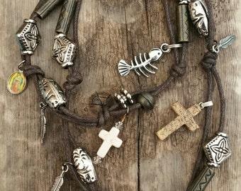 Christian bohemian style wrap bracelet
