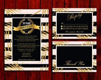Anniversary Stripes:  Wedding Invitation Suite;     Print at Home Wedding Invitations