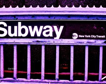 Take Me To Manhattan Purple Photograph Print