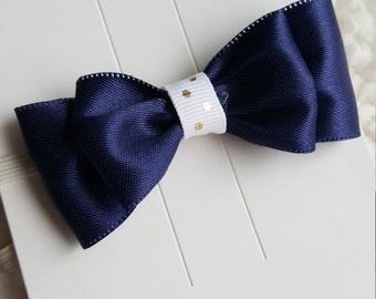 Navy ribbon bow elastic headband, white and gold polka dot, newborn baby girl bow
