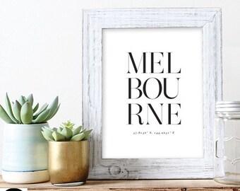 Melbourne Typography Print Digital Wall Art