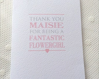 Personalised Wedding guest, Thank you Flowergirl card