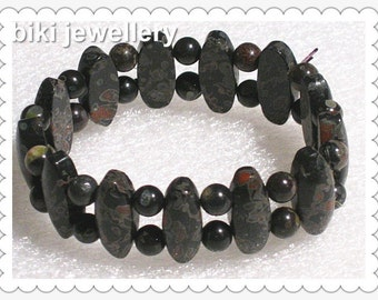Handcrafted plum blossom Jasper bracelet #B8091