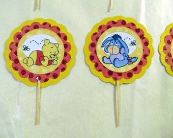 Pooh Cupcake Toppers,Winnie the Pooh Cupcake Toppers, Pooh Bear Cupcake Toppers, Baby Shower, Birthday Party, Pooh Birthday, set of 12