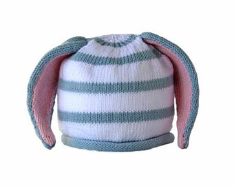 Baby hat with bunny ears - blue