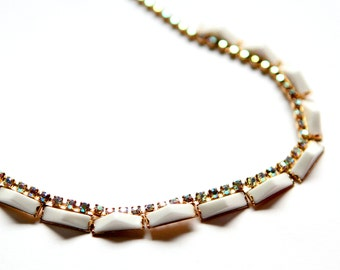Vintage Necklace - 1960's Rhinestone Choker with White Accents, Vintage Wedding Jewelry, MCM Bridal Necklace