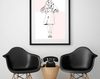 Fashion illustration print, fine art print of original drawing