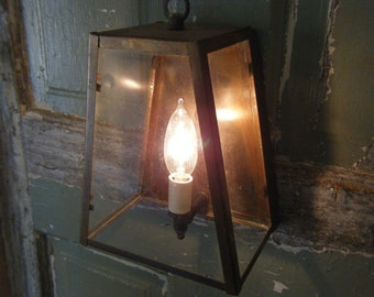 Solid Brass 1970s Light fixture lighting  Sconce Hall Porch