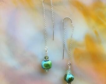 CalyKat Spring Fling Earrings with Handmade Lampwork Beads and Sterling Silver Threaders