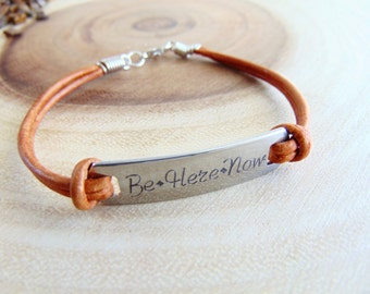 Personalized leather bracelet, engraved message bar bracelet, adjustable stamped name plate bracelet, inspirational Quote jewelry gift