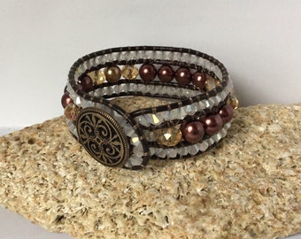 Leather Cuff Brown Bracelet