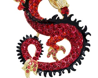 Swarovski Element Crystals Dragon Brooch Pin Pendant (red)