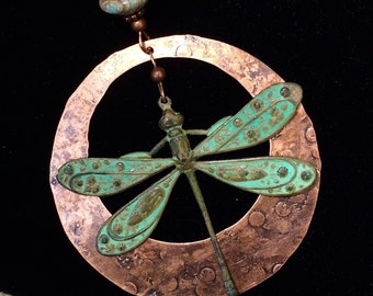 large dragonfly pendant, dragonfly necklace, patina dragonfly, unique dragonfly jewelry, hammered copper, dragonfly, copper jewelry