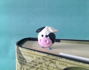 Cow Paperclip Bookmark - 1 Polymer Clay Bookmark, Cow Gifts