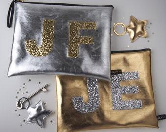 Metallic Gold Or Silver Monogram Glitter Zip Purse With Star Keyring