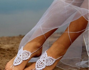 Laced Up- White Crochet Barefoot Sandal
