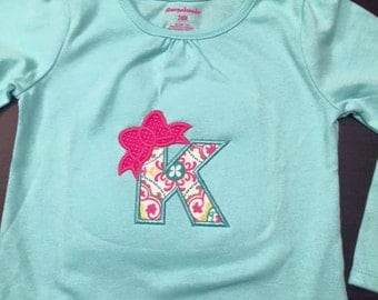 Letter with bow shirt