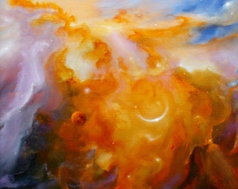 Abstract Space Art - Astronomy Art -  Original Oil Painting - 'Other Worlds'