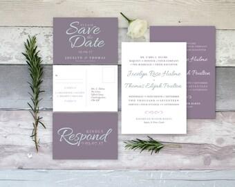 Elegant Wedding Stationery Set | Invitation | RSVP | Save the Date | Customised | Pearlescent | Printed or Printable