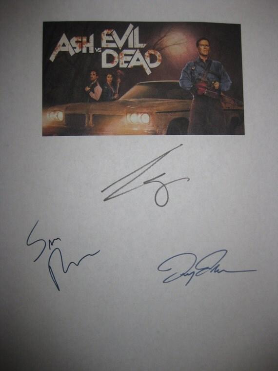 Ash vs Evil Dead Signed TV Screenplay Script Autographs Signatures Bruce Campbell Sam Raimi Lucy Lawless Horror TV Show