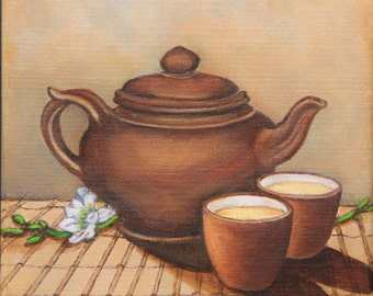 Teapot and cups card