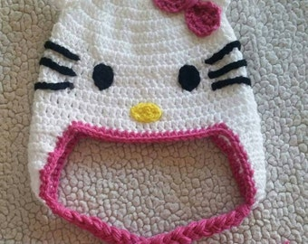 Crochet Hello Kitty Hat, cat hat, girl hats, handmade gifts, kids hats, baby hats, crochet cat hat, Hello Kitty