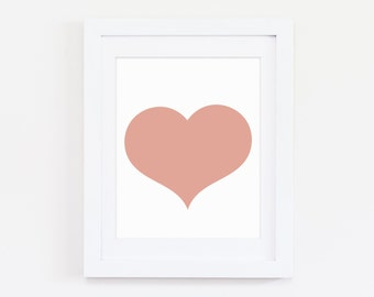 Nursery Heart Art, Pink Nursery Wall Decor, Pink Heart Print, Heart Printable, Heart Wall Art, Wall Art Heart Decor, Art For Baby Girls Room