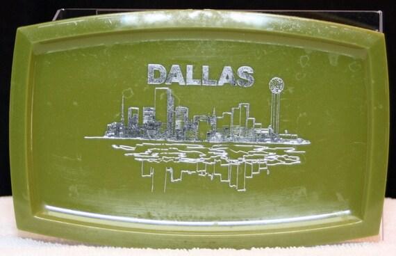 SALE Vintage Dallas Texas Souvenir Tray Outdoor
