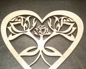 Valentine's day Heart with Rose Laser Cut 18x20cm
