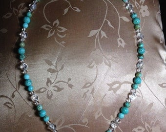 Turquoise and blue skys bead necklace