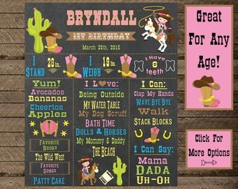 Cowgirl theme birthday, Cowgirl Chalkboard sign, Girls Cowgirl birthday, western, girls birthday chalkboard, cowgirl party decor, 1st bday