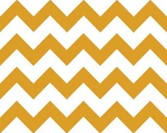 Mustard Yellow Chevron on White Chevron zig zag cotton jersey Knit fabric by the YARD