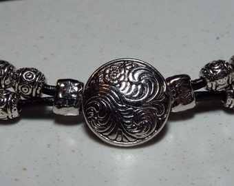 Leather Button and Bead Bracelet