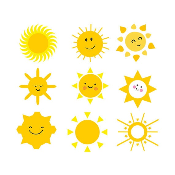 Sun svg sun clipart sun face clip art Cutting Template