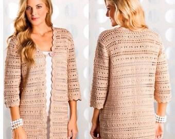 Ladies Cardigan, Crochet Pattern. PDF Instant Download.