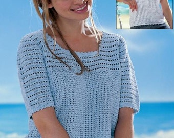 Ladies Summer Short Sleeve And Sleeveless Top, Crochet Pattern. PDF Instant Download.