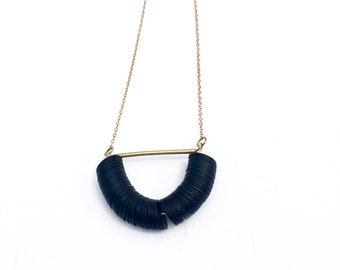 Monkton Necklace, brass and black afircan vinyl beads