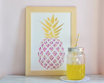 Displays graph-A4-pineapple-gold-Paper cut-gift-