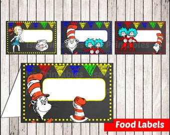 80% OFF SALE Chalkboard Cat in the Hat Food Tent Cards instant download, Printable Dr Seuss Chalkboard Food Labels, Thing 1 and 2 Party